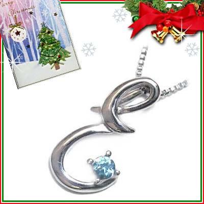 クリスマス限定Xmasカード付「E」イニシャルモチーフ( 11月誕生石 )K10WG ブルートパーズペンダントネックレスCanCam掲載【DEAL】