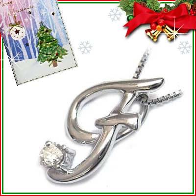クリスマス限定Xmasカード付「F」イニシャルモチーフ( 4月誕生石 )K10WG ダイヤモンドペンダントネックレスCanCam掲載【DEAL】