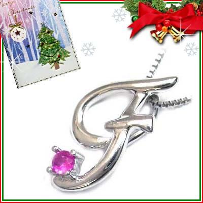 クリスマス限定Xmasカード付「F」イニシャルモチーフ( 7月誕生石 )K10WG ルビーペンダントネックレスCanCam掲載【DEAL】