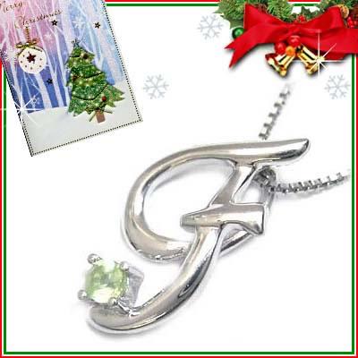 クリスマス限定Xmasカード付「F」イニシャルモチーフ( 8月誕生石 )K10WG ペリドットペンダントネックレスCanCam掲載【DEAL】