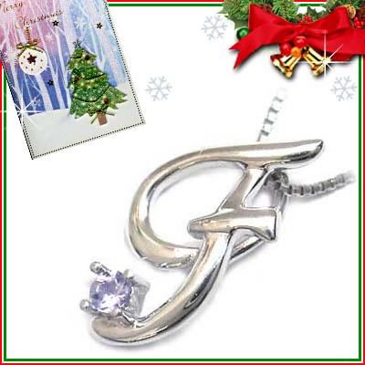 クリスマス限定Xmasカード付「F」イニシャルモチーフ( 12月誕生石 )K10WG タンザナイトペンダントネックレスCanCam掲載【DEAL】