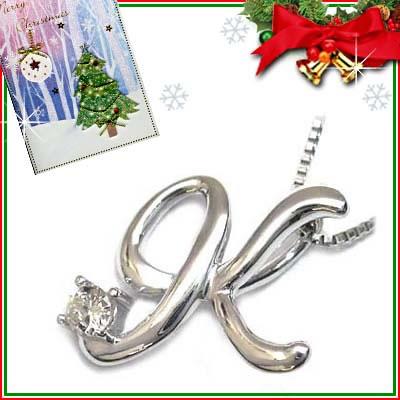 クリスマス限定Xmasカード付「K」イニシャルモチーフ( 4月誕生石 )K10WG ダイヤモンドペンダントネックレスCanCam掲載【DEAL】