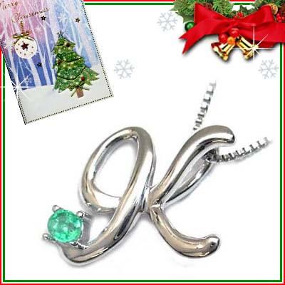 クリスマス限定Xmasカード付「K」イニシャルモチーフ( 5月誕生石 )K10WG エメラルドペンダントネックレスCanCam掲載【DEAL】