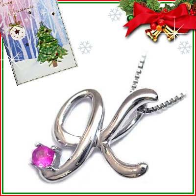 クリスマス限定Xmasカード付「K」イニシャルモチーフ( 7月誕生石 )K10WG ルビーペンダントネックレスCanCam掲載【DEAL】