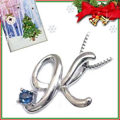 クリスマス限定Xmasカード付「K」イニシャルモチーフ( 9月誕生石 )K10WG サファイアペンダントネックレスCanCam掲載【DEAL】