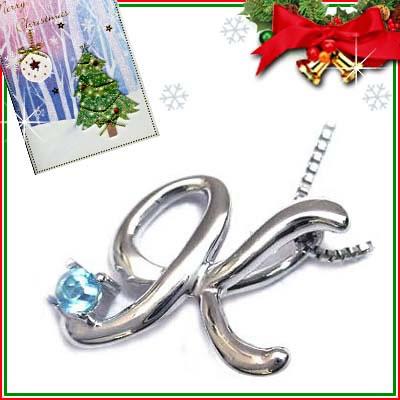 クリスマス限定Xmasカード付「K」イニシャルモチーフ( 11月誕生石 )K10WG ブルートパーズペンダントネックレスCanCam掲載【DEAL】