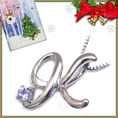 クリスマス限定Xmasカード付「K」イニシャルモチーフ( 12月誕生石 )K10WG タンザナイトペンダントネックレスCanCam掲載【DEAL】