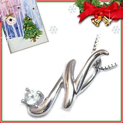 クリスマス限定Xmasカード付「N」イニシャルモチーフ( 3月誕生石 )K10WG アクアマリンペンダントネックレスCanCam掲載【DEAL】