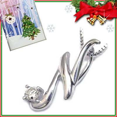 クリスマス限定Xmasカード付「N」イニシャルモチーフ( 4月誕生石 )K10WG ダイヤモンドペンダントネックレスCanCam掲載【DEAL】