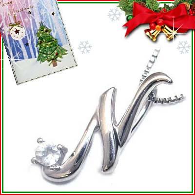 クリスマス限定Xmasカード付「N」イニシャルモチーフ( 6月誕生石 )K10WG ムーンストーンペンダントネックレスCanCam掲載【DEAL】