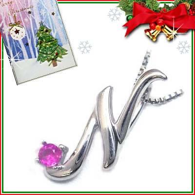 クリスマス限定Xmasカード付「N」イニシャルモチーフ( 7月誕生石 )K10WG ルビーペンダントネックレスCanCam掲載【DEAL】
