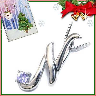 クリスマス限定Xmasカード付「N」イニシャルモチーフ( 12月誕生石 )K10WG タンザナイトペンダントネックレスCanCam掲載【DEAL】