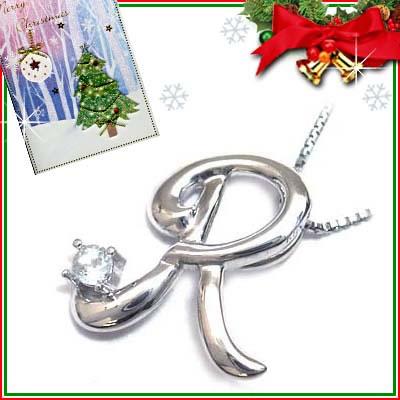 クリスマス限定Xmasカード付「R」イニシャルモチーフ( 3月誕生石 )K10WG アクアマリンペンダントネックレスCanCam掲載【DEAL】