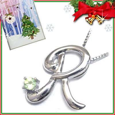 クリスマス限定Xmasカード付「R」イニシャルモチーフ( 8月誕生石 )K10WG ペリドットペンダントネックレスCanCam掲載【DEAL】