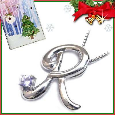 クリスマス限定Xmasカード付「R」イニシャルモチーフ( 12月誕生石 )K10WG タンザナイトペンダントネックレスCanCam掲載【DEAL】