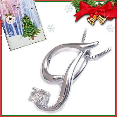 クリスマス限定Xmasカード付「T」イニシャルモチーフ( 4月誕生石 )K10WG ダイヤモンドペンダントネックレスCanCam掲載【DEAL】