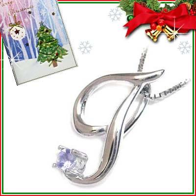 クリスマス限定Xmasカード付「T」イニシャルモチーフ( 12月誕生石 )K10WG タンザナイトペンダントネックレスCanCam掲載【DEAL】
