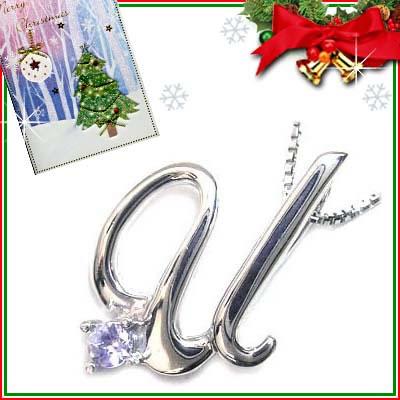 クリスマス限定Xmasカード付「U」イニシャルモチーフ( 12月誕生石 )K10WG タンザナイトペンダントネックレスCanCam掲載【DEAL】