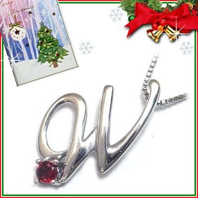 クリスマス限定Xmasカード付「W」イニシャルモチーフ( 1月誕生石 )K10WG ガーネットペンダントネックレスCanCam掲載【DEAL】