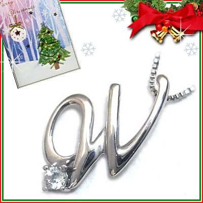 クリスマス限定Xmasカード付「W」イニシャルモチーフ( 3月誕生石 )K10WG アクアマリンペンダントネックレスCanCam掲載【DEAL】