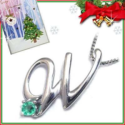 クリスマス限定Xmasカード付「W」イニシャルモチーフ( 5月誕生石 )K10WG エメラルドペンダントネックレスCanCam掲載【DEAL】