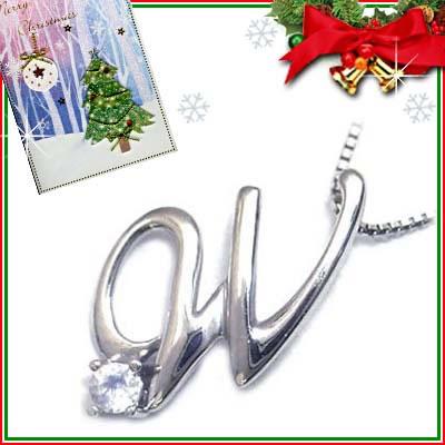 クリスマス限定Xmasカード付「W」イニシャルモチーフ( 6月誕生石 )K10WG ムーンストーンペンダントネックレスCanCam掲載【DEAL】