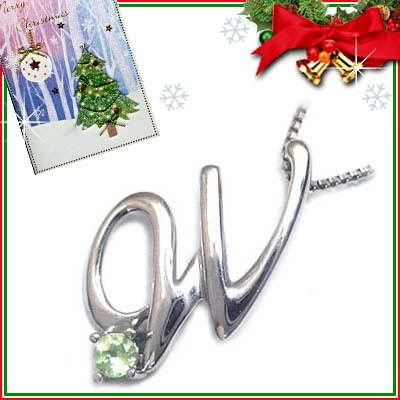 クリスマス限定Xmasカード付「W」イニシャルモチーフ( 8月誕生石 )K10WG ペリドットペンダントネックレスCanCam掲載【DEAL】