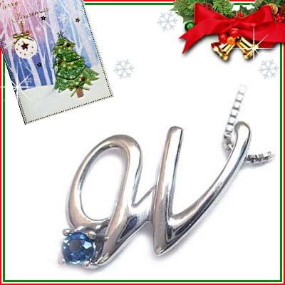 クリスマス限定Xmasカード付「W」イニシャルモチーフ( 9月誕生石 )K10WG サファイアペンダントネックレスCanCam掲載【DEAL】