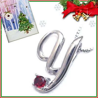 クリスマス限定Xmasカード付「Y」イニシャルモチーフ( 1月誕生石 )K10WG ガーネットペンダントネックレスCanCam掲載【DEAL】
