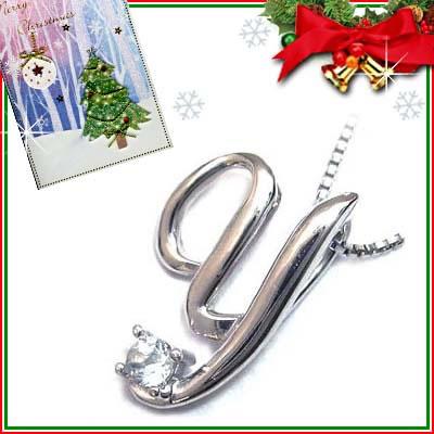 クリスマス限定Xmasカード付「Y」イニシャルモチーフ( 3月誕生石 )K10WG アクアマリンペンダントネックレスCanCam掲載【DEAL】