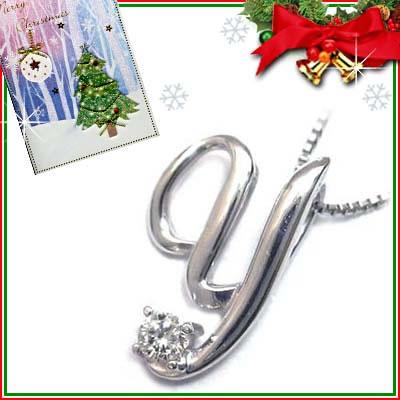 クリスマス限定Xmasカード付「Y」イニシャルモチーフ( 4月誕生石 )K10WG ダイヤモンドペンダントネックレスCanCam掲載【DEAL】