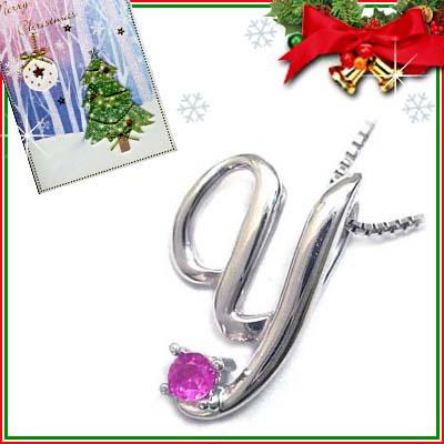 クリスマス限定Xmasカード付「Y」イニシャルモチーフ( 7月誕生石 )K10WG ルビーペンダントネックレスCanCam掲載【DEAL】