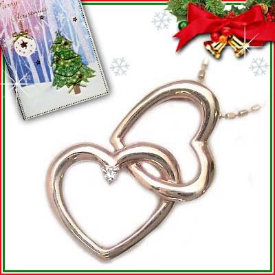 クリスマス限定Xmasカード付K10ピンクゴールドダイヤモンドハートモチーフペンダントネックレス【DEAL】