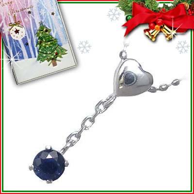 クリスマス限定Xmasカード付( 9月誕生石 ) K18ホワイトゴールド サファイアペンダントネックレス【2007SUEHIRO