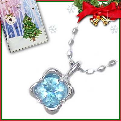 クリスマス限定Xmasカード付( 11月誕生石 ) K18ホワイトゴールド ブルートパーズペンダントネックレス【2007SUEHIRO【DEAL】