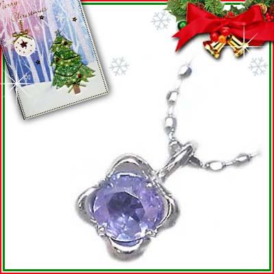 クリスマス限定Xmasカード付( 12月誕生石 ) K18ホワイトゴールド タンザナイトペンダントネックレス【2007SUEHIRO【DEAL】