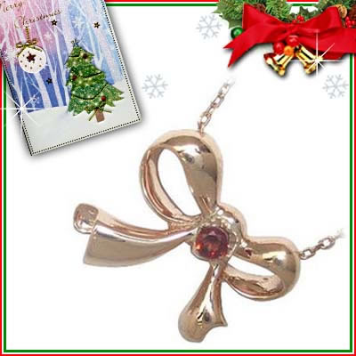 クリスマス限定Xmasカード付( 1月誕生石 ) K10ピンクゴールド ガーネットペンダントネックレス(リボンモチーフ)
