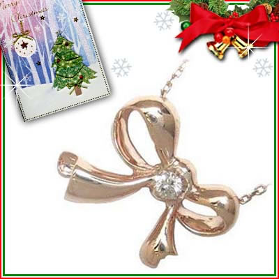 クリスマス限定Xmasカード付( 4月誕生石 ) K10ピンクゴールド ダイヤモンドペンダントネックレス(リボンモチーフ)【DEAL】