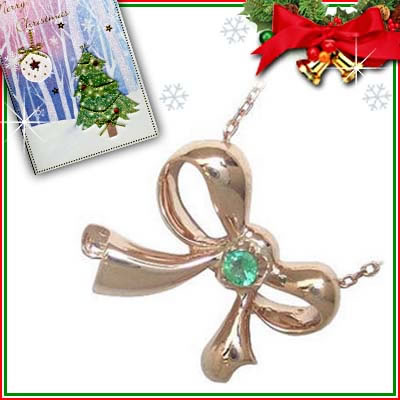 クリスマス限定Xmasカード付( 5月誕生石 ) K10ピンクゴールド エメラルドペンダントネックレス(リボンモチーフ)