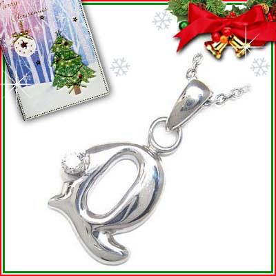 クリスマス限定Xmasカード付「Q」イニシャルモチーフ( 4月誕生石 ) ダイヤモンドペンダントネックレスCanCam掲載【DEAL】