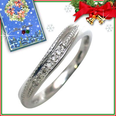 クリスマス限定Xmasカード付結婚指輪・マリッジリング・ペアリング(ホワイトゴールド ダイヤモンド)【DEAL】
