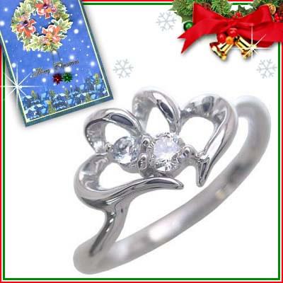 クリスマス限定Xmasカード付( 3月誕生石 ) K10ホワイトゴールド アクアマリンリング(ハートモチーフ)