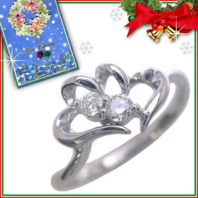 クリスマス限定Xmasカード付( 4月誕生石 ) K10ホワイトゴールド ダイヤモンドリング(ハートモチーフ)【DEAL】