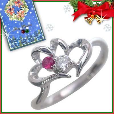 クリスマス限定Xmasカード付( 7月誕生石 ) K10ホワイトゴールド ルビーリング(ハートモチーフ)