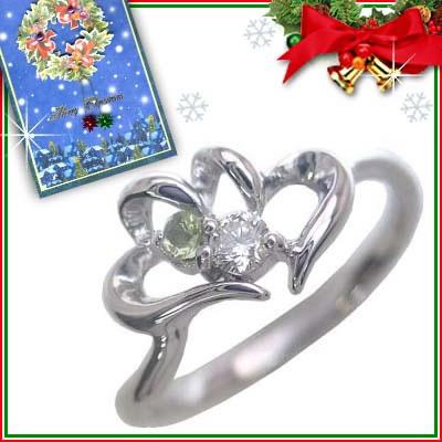 クリスマス限定Xmasカード付( 8月誕生石 ) K10ホワイトゴールド ペリドットリング(ハートモチーフ)