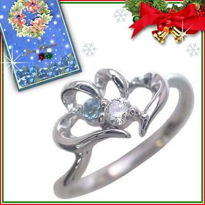 クリスマス限定Xmasカード付( 11月誕生石 ) K10ホワイトゴールド ブルートパーズリング(ハートモチーフ)