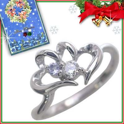 クリスマス限定Xmasカード付( 12月誕生石 ) K10ホワイトゴールド タンザナイトリング(ハートモチーフ)