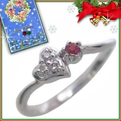 クリスマス限定Xmasカード付( 1月誕生石 ) K10ホワイトゴールド ガーネットリング(ハートモチーフ)【DEAL】
