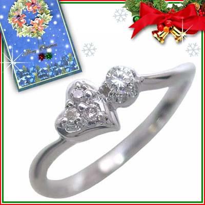 クリスマス限定Xmasカード付( 4月誕生石 ) K10ホワイトゴールド ダイヤモンドリング(ハートモチーフ)