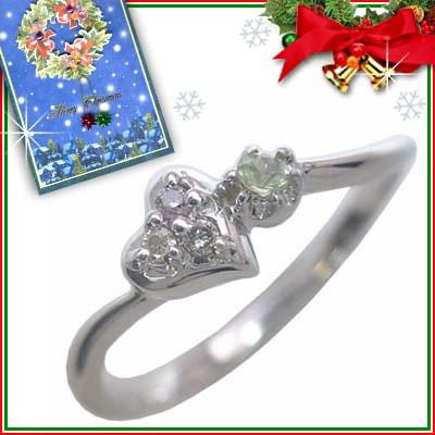 クリスマス限定Xmasカード付( 8月誕生石 ) K10ホワイトゴールド ペリドットリング(ハートモチーフ)【DEAL】